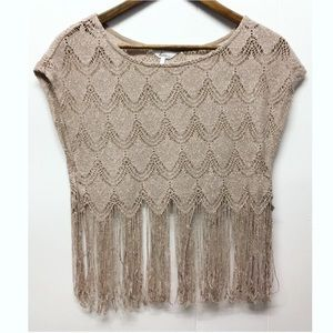 Kirra | Dusty Pink Sparkled Fringed Crochet Top